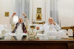 Jonathan Pryce as the future Pope Francis, and Anthony Hopkins as the former Pope Benedict in 'The Two Popes'