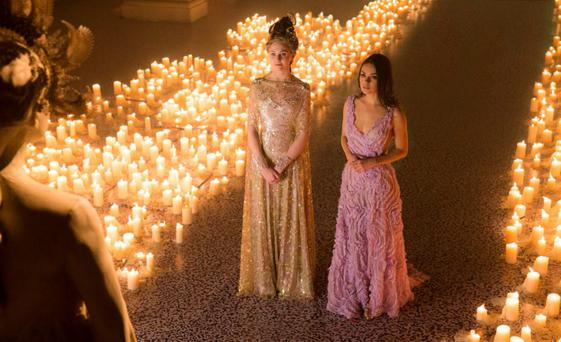 A GALAXY FAR AWAY: Mila Kunis and Tuppence Middleton in Jupiter Ascending