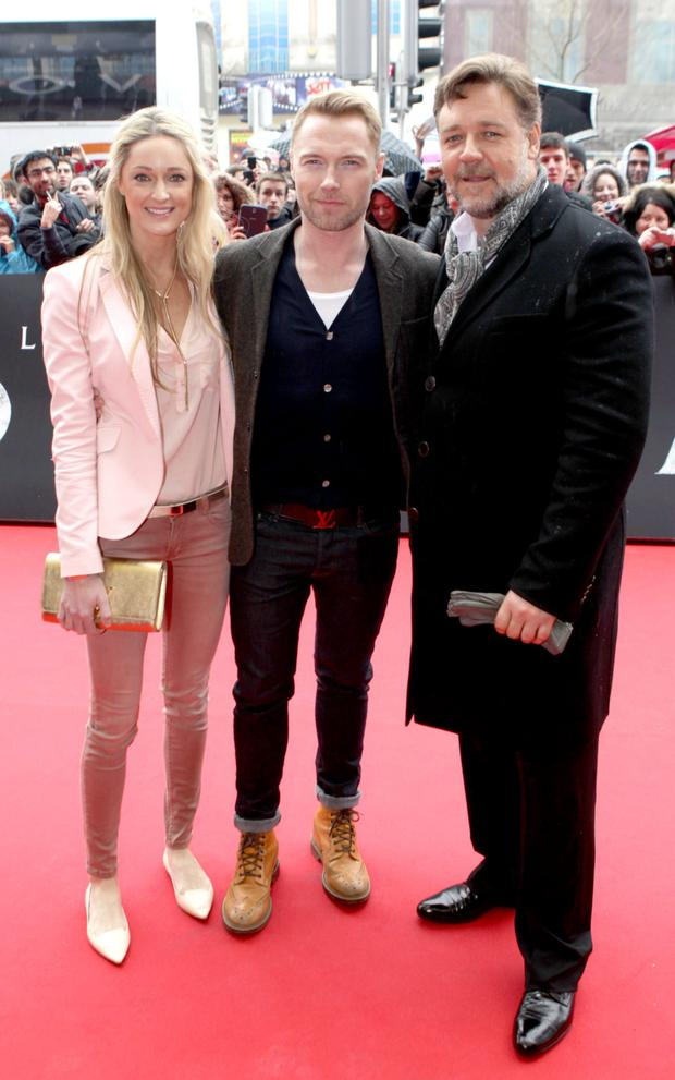 Russell Crowe with his friend Ronan Keating and Storm Uechtritz at the Irish premiere of Noah