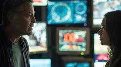Fun but frustrating: George Clooney and Britt Roberston in Disney's sci-fi adventure, Tomorrowland: A World Beyond