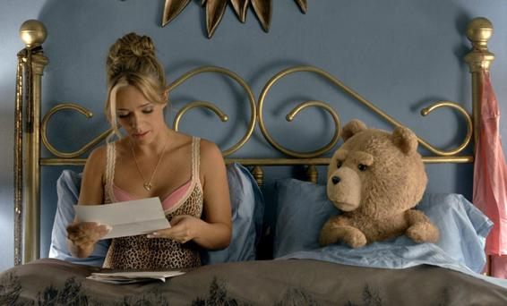 And so to bed: Jessica Barth and a certain foul-mouthed bear in Ted 2