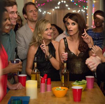 Party girls: Tina Fey and Amy Poehler vie for laughs