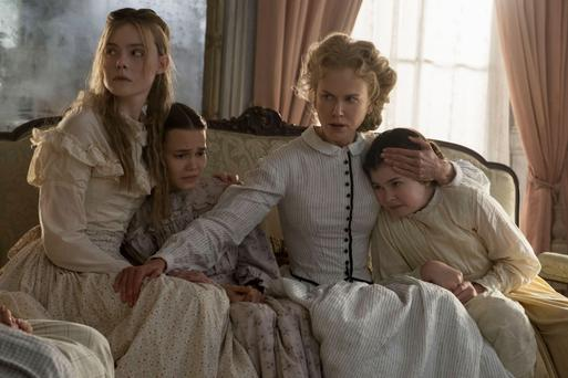 Elle Fanning and Nicole Kidman in a scene from The Beguiled