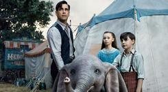 Colin Farrell, Nico Parker, and Finley Hobbins are the human leads in Dumbo