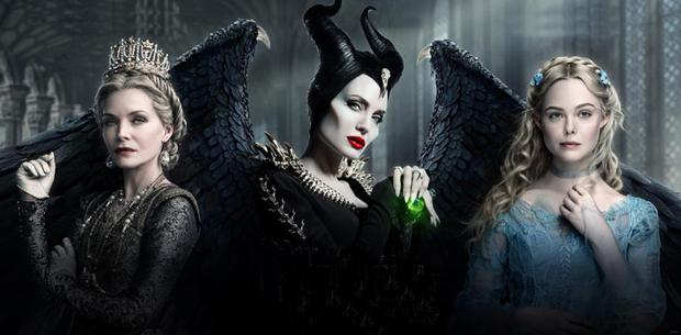 Michelle Pfeiffer, Angelina Jolie and Dakota Fanning in Maleficent: Mistress of Evil