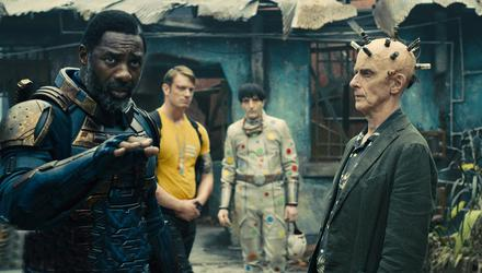 Idris Elba as Bloodsport and Peter Capaldi as The Thinker in 'The Suicide Squad'