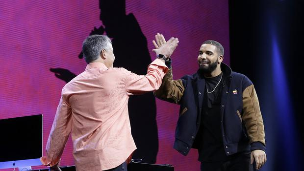 Drake joined Apple senior vice president Eddy Cue to launch Apple Music (AP)