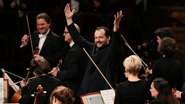 On the rostrum: Latvian conductor Andris Nelsons was in charge of the baton at this year's New Year's Day concert