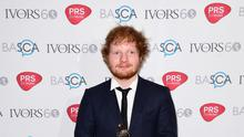 Ed Sheeran with the Songwriter of the Year Award at the 60th annual Ivor Novello Awards, at Grosvenor House in London