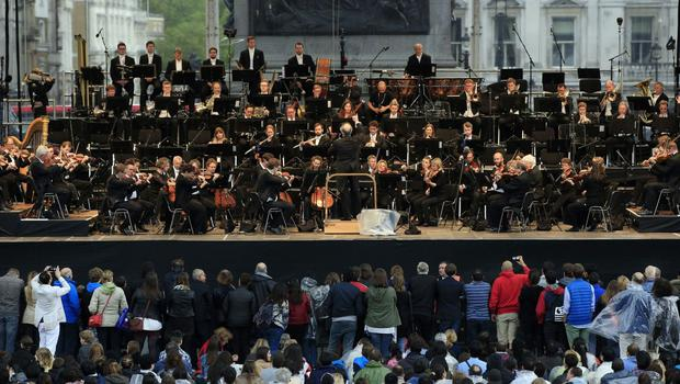 The London Symphony Orchestra, performing in Trafalgar Square, central London