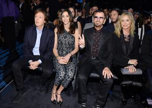 'It's family. Sometimes 'we get pissed off at each other' - Paul McCartney, with his wife Nancy, says of Ringo, pictured with the couple and Barbara at the 2014 Grammys. Photo: Getty