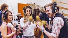 Kaiser Chiefs superfans Jessica Wright and Sarah Luke in the studio with Ricky Wilson (Andrew Whitton)