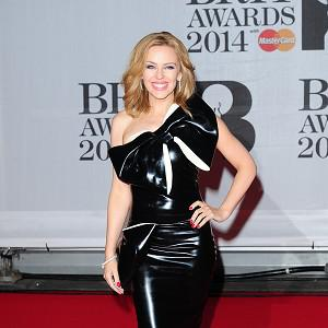 Kylie Minogue opted for a rubber dress for the Brits