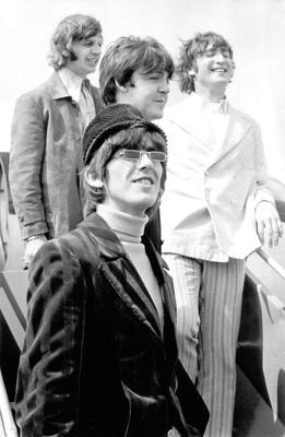 The Beatles heading to Germany from London Heathrow in 1966