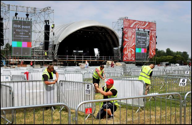 The set up of Irelands first big music festival in Covid-era featuring Gavin James and Lyra to name a few band performing this weekend at Kilmainham. Photo by Steve Humphreys 2nd July 2021.