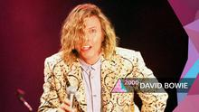 David Bowie performs on the Pyramid Stage at Glastonbury in 2000