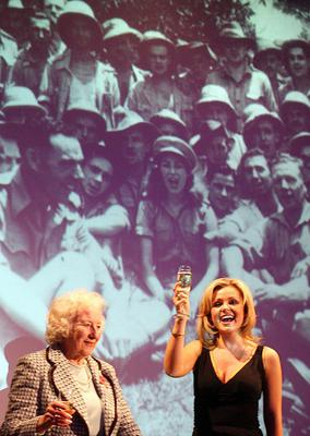 Katherine Jenkins, right, raised a toast to Dame Vera Lynn to celebrate her 90th birthday at the Imperial War Museum in London in 2007 (PA)