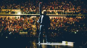 Bono on stage during the U2 concert at Turin's Pala Alpitour Arena (Danny North/U2/PA)
