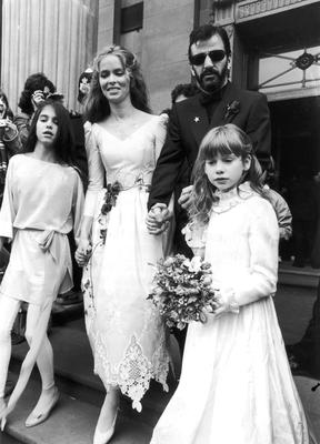Much of Ringo's vitality comes from 34 years of marriage to Barbara Bach Starkey - on their wedding day in 1981 with Starkey's daughter, Francesca, and Starr's daughter, Lee. Photo: Getty