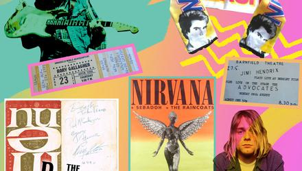 Memorabilia by Rory Gallagher, Nick Kershaw, Jimi Hendrix, The Beatles and Nirvana
