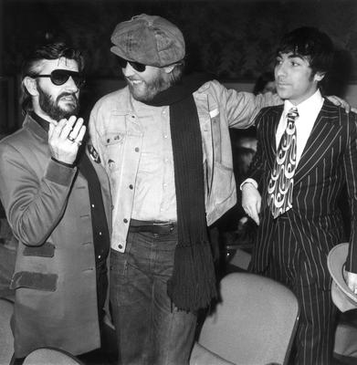 'He was my best friend. Yeah, I loved Harry' - with singer Harry Nilsson and The Who's Keith Moon at the premiere of 'That'll Be The Day' in 1973. Photo:  Getty