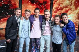 For use in UK, Ireland or Benelux countries only Undated BBC handout photo of Gary Barlow (left) with Five To Five on the final of Let It Shine on BBC One.