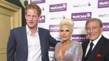 Prince Harry meets with Lady Gaga and Tony Bennett at a charity concert at the Royal Albert Hall (Alan Davidson/Daily Mail/PA)