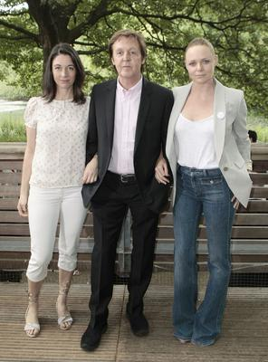A year on from his draining divorce, Sir Paul looked back to his best while promoting the food campaign Meat Free Monday alongside his daughters Mary (left) and Stella (right) (Carl Court/PA)