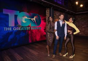 Oti Mabuse, Matthew Morrison and Cheryl, who will be dance captains on BBC One's new Saturday show, The Greatest Dancer, hosted by Jordan Banjo and Alesha Dixon (Syco/Thames/Tom Dymond)