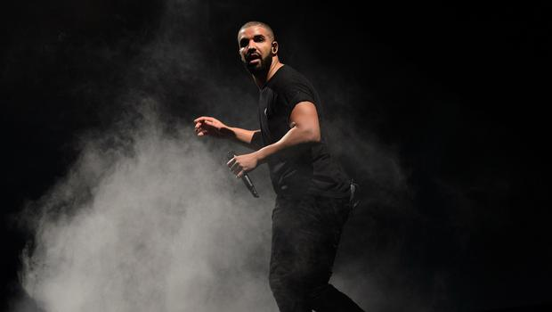 Drake performs on the main stage at London's Wireless festival (AP)
