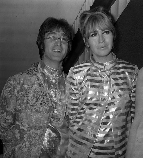 John Lennon with his then wife Cynthia Lennon at Heathrow Airport in 1968 (PA)