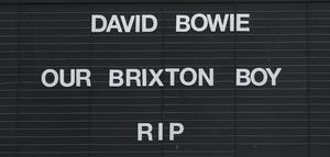 A tribute to David Bowie on the Ritzy cinema in Brixton, where the singer was born (Anthony Devlin/PA)