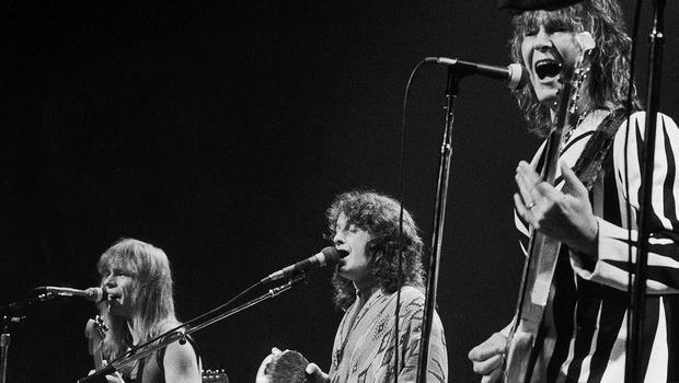 Yes performing at New York's Madison Square Garden in 1977 with (left to right) Steve Howe, Jon Anderson and Chris Squire (AP/Richard Drew)