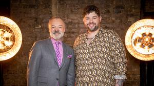 Programme Name: Eurovision 2020 – TX: n/a – Episode: n/a (No. n/a) – Picture Shows: Graham Norton, James Newman – (C) BBC Studios – Photographer: Guy Levy