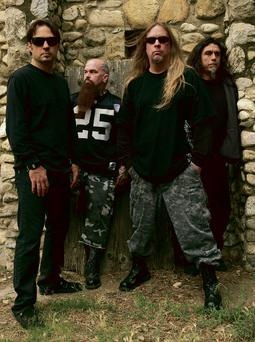 Dave Lombardo, Kerry King, Jeff Hanneman and Tom Araya. Hanneman, 49, a founding member of the heavy metal band Slayer, has died. (AP Photo/Courtesy of Slayer, Mark Seliger)...I