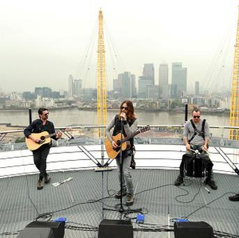 Jared Leto's band 30 Seconds To Mars performed on the roof of the O2