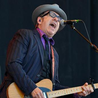 Elvis Costello performs on the Pyramid stage at Glastonbury