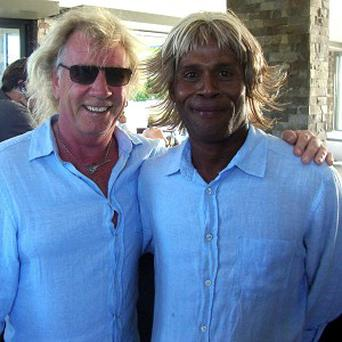 Status Quo star Rick Parfitt with a man that was used as his 'double' for some scenes in his movie debut