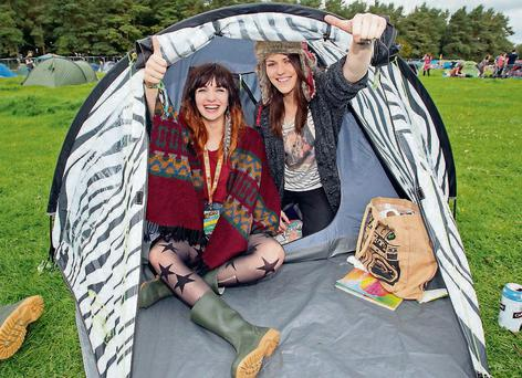 Nino Sanaia and Sinead Grogan from Tallaght pictured at Electric Picnic 2011 at Stradbally, Co Laois. Photo: Colin Keegan, Collins, Dublin)