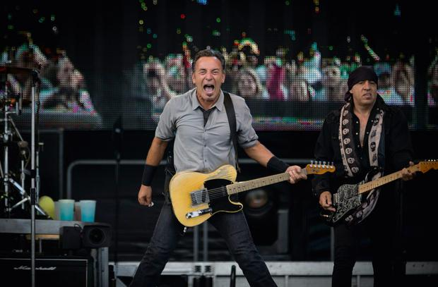 Bruce Springsteen with bandmate Steve Van Zandt playing to happy crowds at the Wrecking Ball Weekender at Nowlan Park, Kilkenny