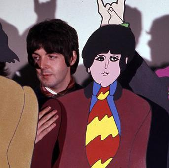 The Beatles during a visit to the studios where the animations for their film Yellow Submarine were created