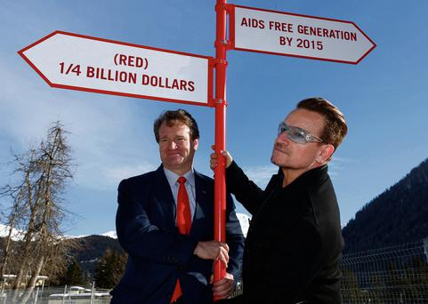 Bono and Bank of America CEO Brian Moynihan pictured in Davos last week.