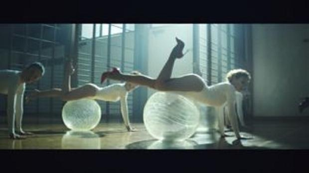 Kylie Minogue works out for the music video to Sexercize
