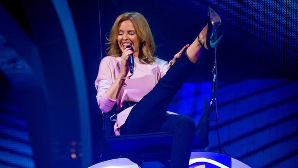 Kylie Minogue steals the show as she rehearses for the final of The Voice (BBC/PA)