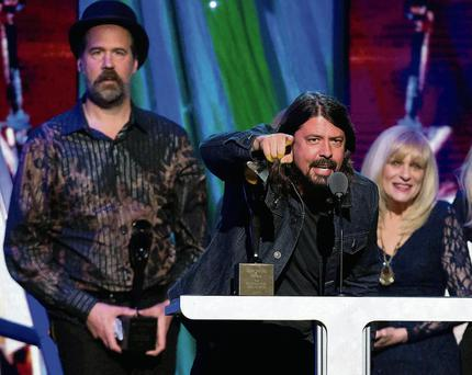 Joan Jett with Nirvana members Krist Novoselic and Dave Grohl