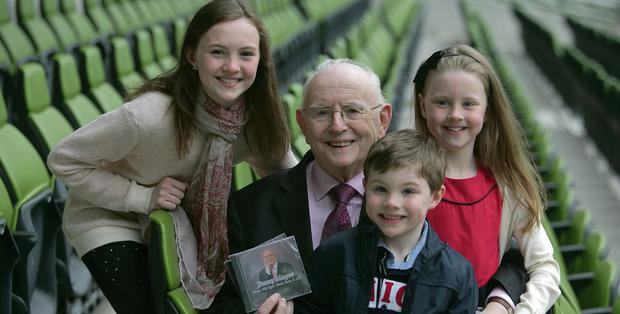 Age Gap: Jimmy Magee and grandchildren Sarah, Paul and Sinead the launch of his single. Photo: Gareth Chaney Collins.