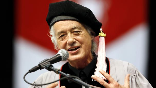 Former Led Zeppelin guitarist Jimmy Page speaks at the Berklee College of Music in Boston (AP)