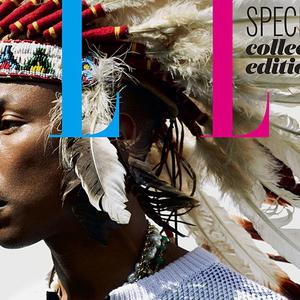 Pharrell Williams dons a Native American feathered headdress for the front cover of Elle UK's July issue (Doug Inglish/Elle UK)