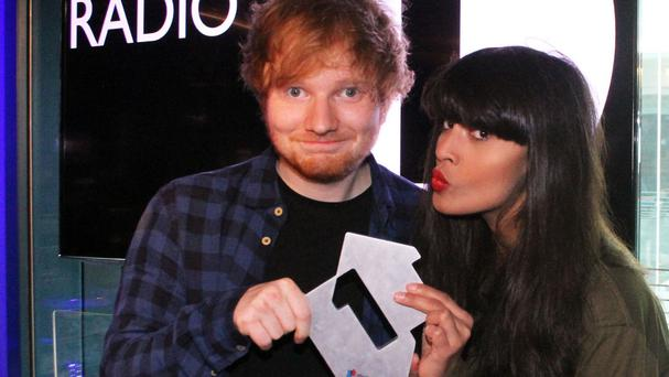 Ed Sheeran was presented with his Official Number One award by BBC Radio 1's Jameela Jamil