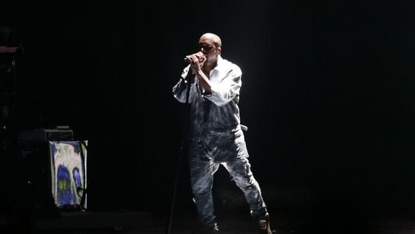Kanye West performing on the Main Stage at the Wireless Festival in Finsbury Park, north London.